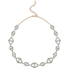 Walters Faith 18 Karat Gold, White Diamond and Black Rhodium Hexagon Choker