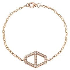 Walters Faith 18 Karat Large Signature Diamond Hexagon Chain Bracelet