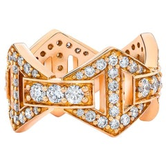 Walters Faith 18 Karat Rose Gold All Diamond Large Signature Hexagon Ring