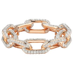 Walters Faith 18 Karat Rose Gold and All Diamond Large Chain Link Ring