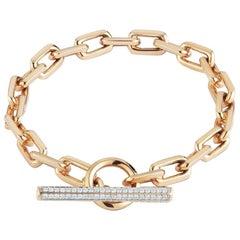 Walters Faith 18 Karat Rose Gold and Diamond Chain Link Toggle Bracelet