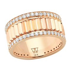 Walters Faith 18 Karat Rose Gold and Diamond Fluted Band Ring