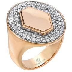 Walters Faith 18 Karat Rose Gold and Diamond Signet Ring