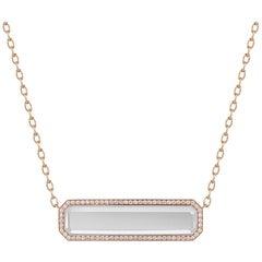 Walters Faith 18 Karat Rose Gold, Diamond and Rock Crystal Bar Pendant
