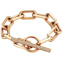 Walters Faith 18 Karat Rose Gold Jumbo Chain Link Diamond Toggle Bracelet
