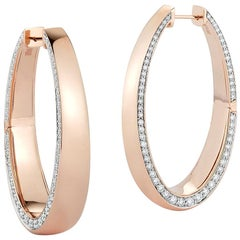 Walters Faith 18 Karat Rose Gold Long Hoop with Diamond Edge
