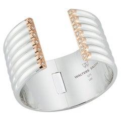 Walters Faith 18 Karat Sterling Silver, Rose Gold and Diamond 7-Row Tubular Cuff
