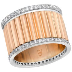 Walters Faith 18K Rose Gold and 18 Karat White Gold Diamond Fluted Band Ring