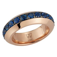 Walters Faith 18K Rose Gold and Blue Sapphire Angled Band Ring