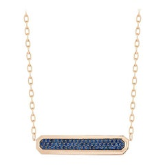 Walters Faith 18k Rose Gold and Blue Sapphire East-West ID Bar Pendant