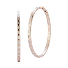 Walters Faith 18K Rose Gold and Diamond Baguette Round Hoop Earrings