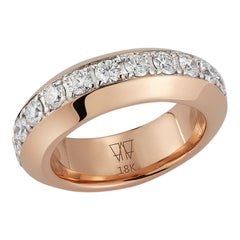 Walters Faith 18K Rose Gold and White Diamond Angled Band Ring