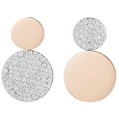 Walters Faith 18 Karat Rose Gold and Yin-Yang Diamond Disc 2 Drop Stud Earrings