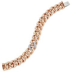 Walters Faith 18K Rose Gold Jumbo Curb Link and Single Diamond Link Bracelet