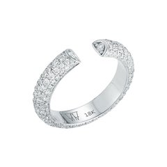 Walters Faith 18k White Gold All Diamond Single Row Tubular Cuff Ring