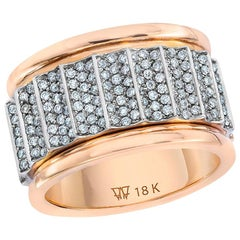 Walters Faith 18K White Gold and 18 Karat Rose Gold All Diamond Fluted Band Ring