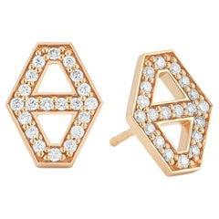 Walters Faith Medium Diamond Signature Hexagon Earrings in Rose Gold