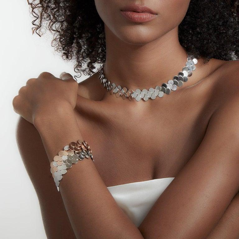 Contemporary Walters Faith's 18 Karat Rose Gold and Diamond Circular Disc Bracelet For Sale