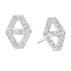 Walters Faith Small Diamond Signature Hexagon Earrings in White Gold