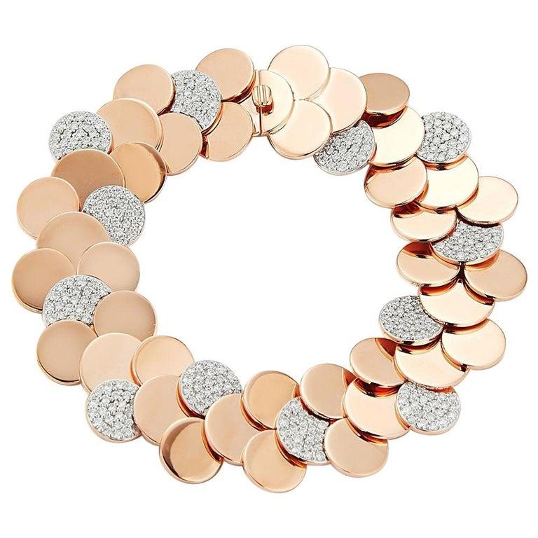Walters Faith's 18 Karat Rose Gold and Diamond Circular Disc Bracelet For Sale