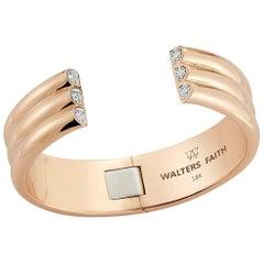 Walters Faith's 18 Karat Rose Gold and Diamond 3 Row Tubular Cuff