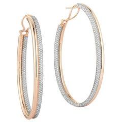Walters Faith's 18 Karat Rose Gold and Diamond Tubular Hoop Earring