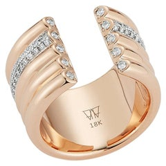 Walters Faith's 5-Row 18 Karat Rose Gold and Pave Diamond Row Tubular Cuff Ring