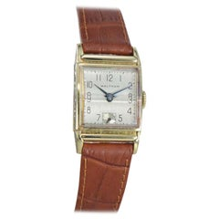 Waltham 14 Karat Gold Filled Art Deco Watch with Original Gabled Crystal
