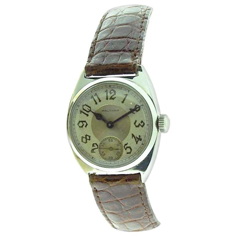 Waltham 14 Karat Solid White Gold Art Deco Handmade Watch from 1926