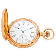 Waltham 14 Karat Yellow Gold Box Hinge Pocket Watch