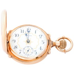 Waltham 14 Karat Yellow Gold Box Hinge Pocket Watch
