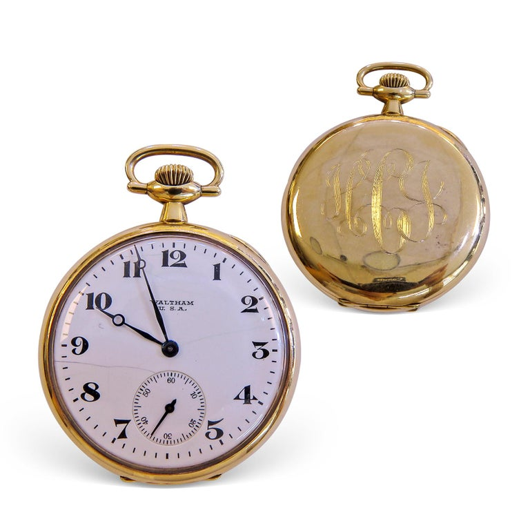 Waltham 14 Karat Gold Pocket Watch Vintage In Fair Condition For Sale In Jackson Heights, NY