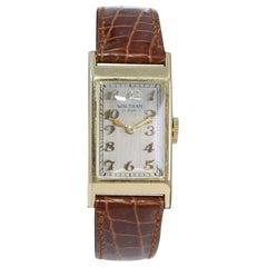 Waltham Art Deco 14kt Solid Yellow Gold Tank Gentleman's Watch, circa 1930's