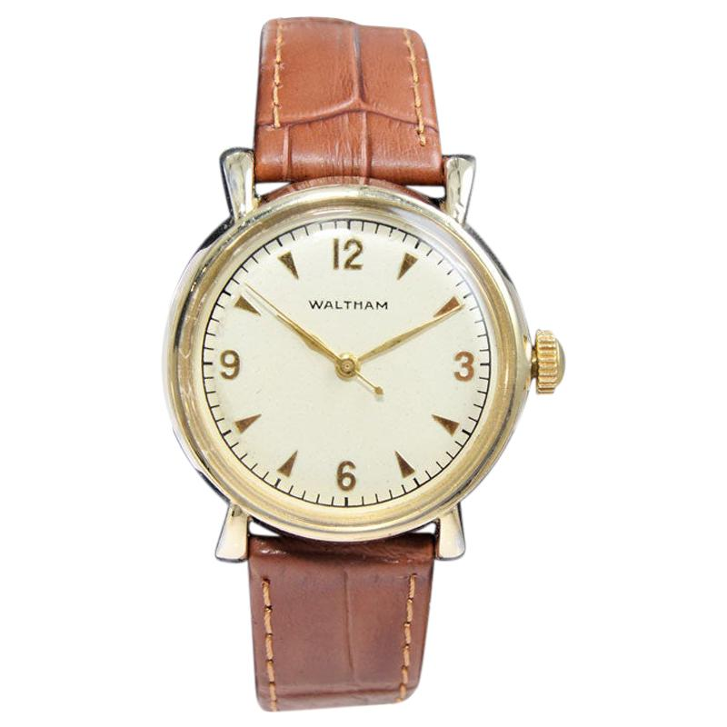 Waltham Art Deco Yellow Gold Filled Wristwatch from 1940s