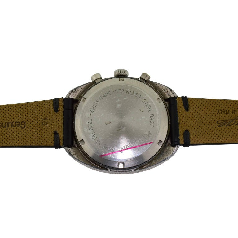 Women's or Men's Waltham Chromium Tonneau Shaped Three Register Chronograph Manual Watch For Sale