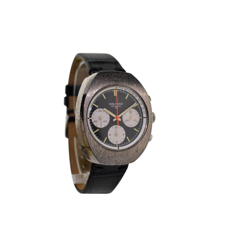 Waltham Chromium Tonneau Shaped Three Register Chronograph Manual Watch For Sale 1