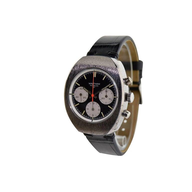 Waltham Chromium Tonneau Shaped Three Register Chronograph Manual Watch For Sale 2