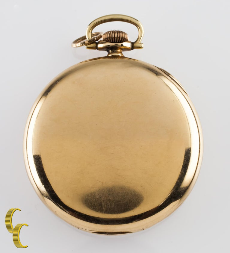 Waltham Colonial Series Open Face 14 Karat Gold Pocket Watch 14s 19 Jewel In Fair Condition For Sale In Sherman Oaks, CA