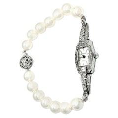 Waltham Diamond Akoya Pearl Platinum Watch Certified
