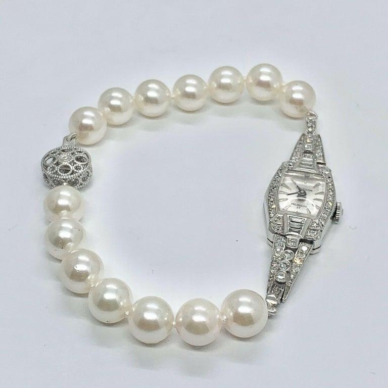 Modern Waltham Diamond Akoya Pearl Platinum Watch Certified For Sale