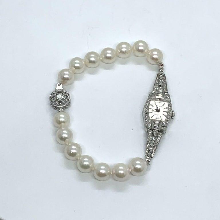 Women's Waltham Diamond Akoya Pearl Platinum Watch Certified For Sale