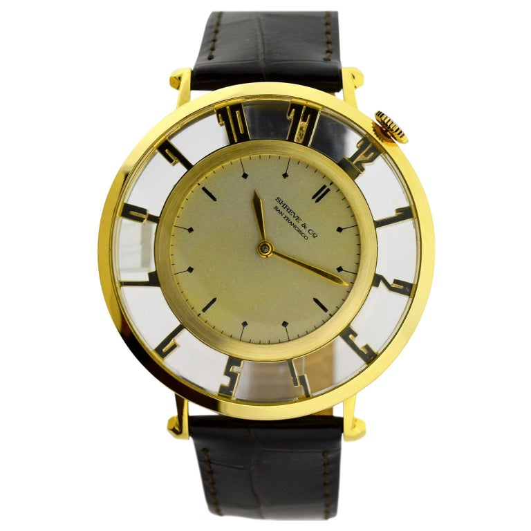 Waltham for Shreve & Co. Yellow Gold Art Deco Pocket Wristwatch from 1935 For Sale