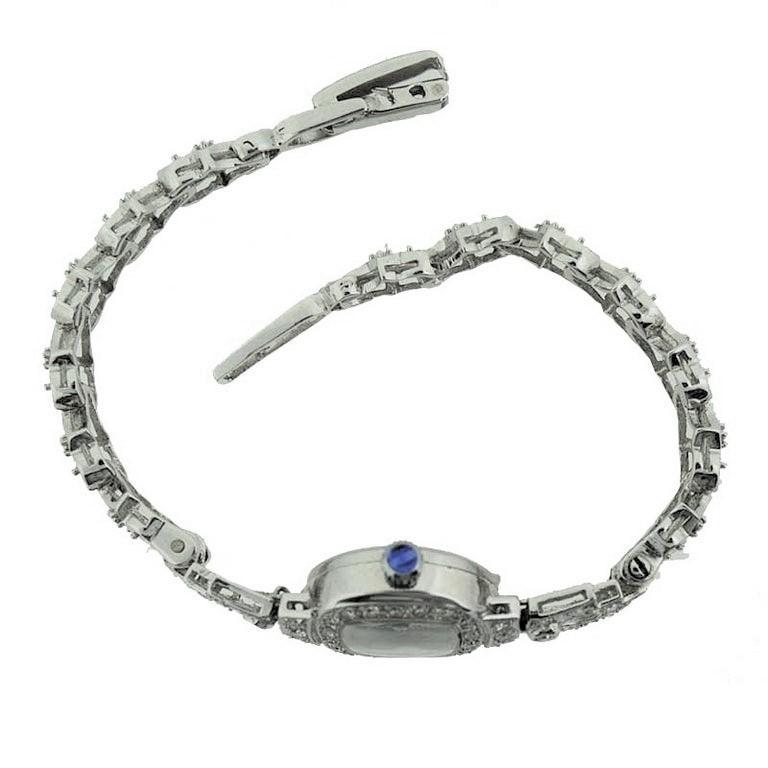 Women's Waltham Platinum Art Deco Ladies Watch with 14 Karat, White Gold Bracelet For Sale