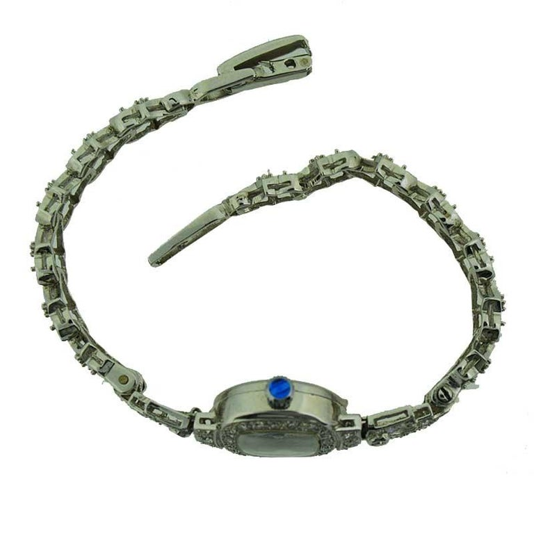 Waltham Platinum Art Deco Ladies Watch with 14 Karat, White Gold Bracelet For Sale 1