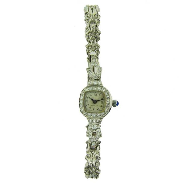 Waltham Platinum Art Deco Ladies Watch with 14 Karat, White Gold Bracelet For Sale