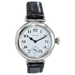 Waltham Silver Campaign Style Manual Wristwatch from 1918 with Enamel Dial