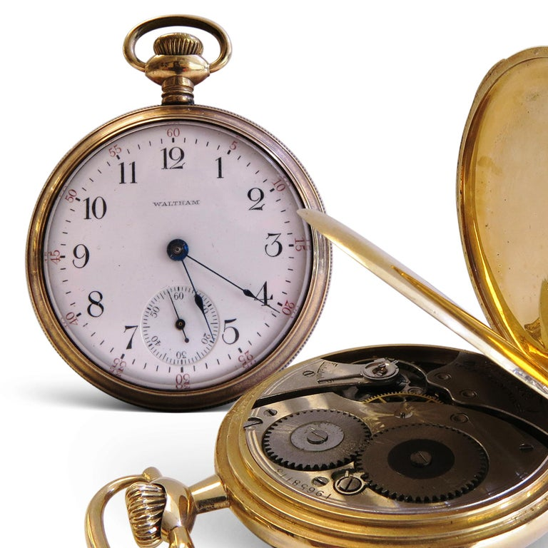 Waltham  Diameter= 55mm or 2 inches  Thickness= 15mm By American Waltham Watch Co. Condition= Good  Movement winding  very rare ball official standard in hunting case.