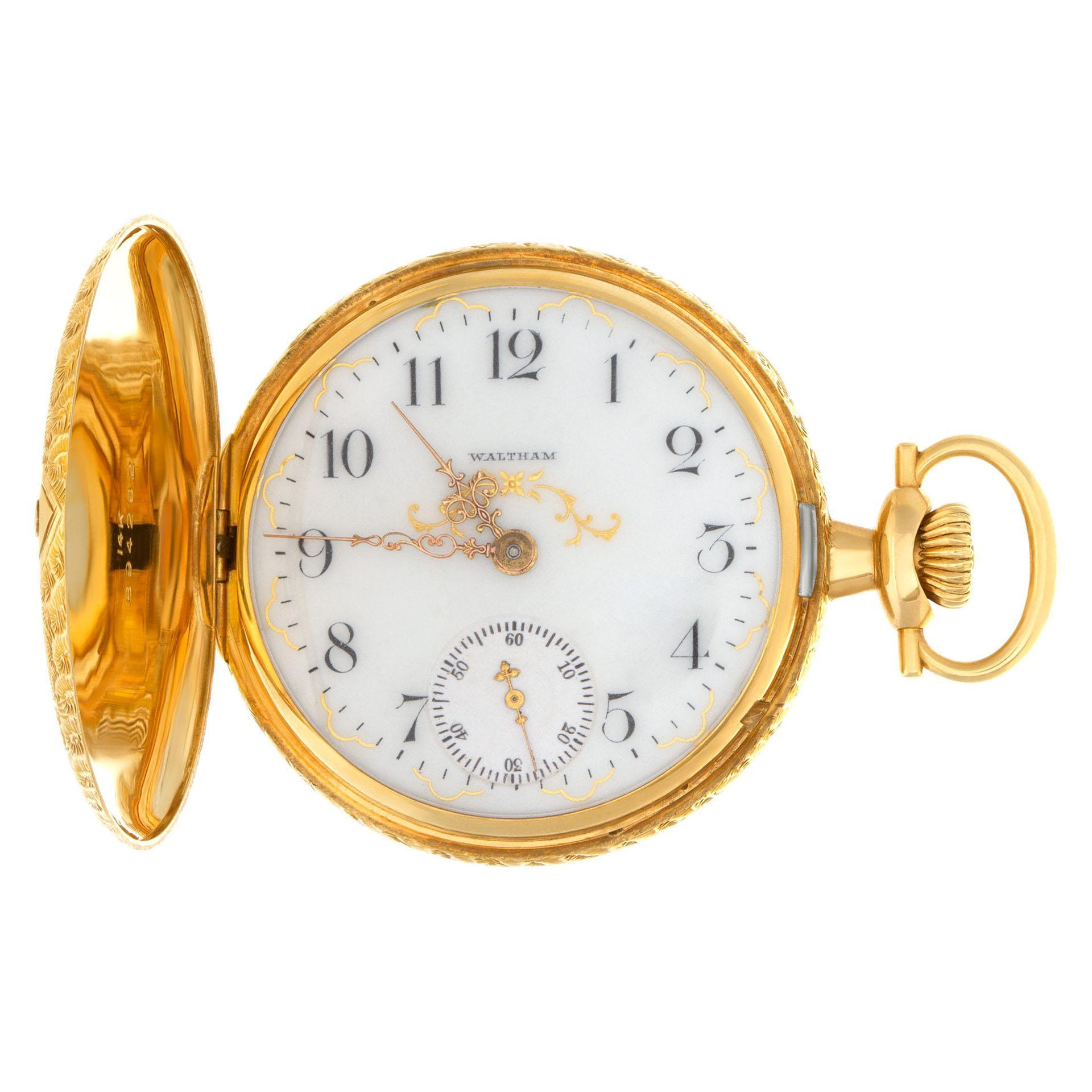 Waltham Wadsworth Pocketwatch in 14k White Porcelain Dial