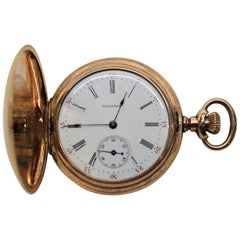 Waltham Watch Co. 14 Karat Yellow Gold Seaside Pocket Watch