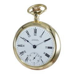 Waltham Yellow Gold Filled Art Deco Open Face Pocket Watch from 1879